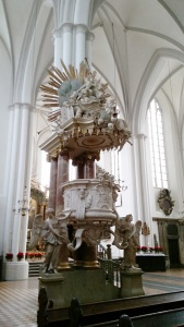 Alabaster pulpit, designed in 1762, at Marienkirche