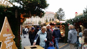 A Christmas market in Dresden.