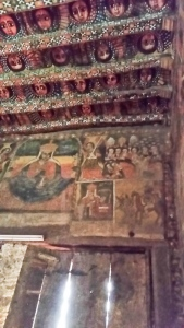 This is the west wall that has an image of Mary for whom ethiopians have great devotion. You can see under her is the old map of the kingdom to show she is their patron.