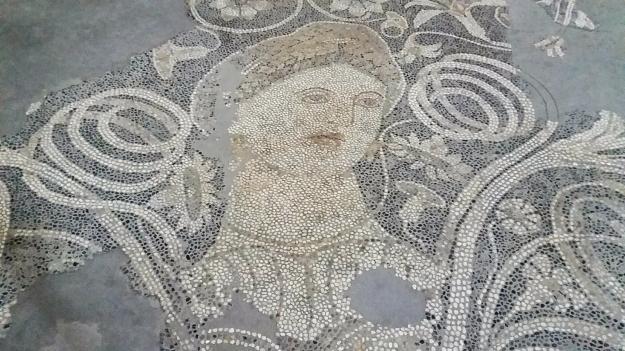 A Roman mosaic.