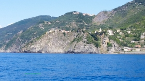A view of Riomaggiore from the water.