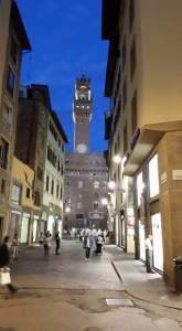 Florence at night. Clocktower. Florence, Italy.