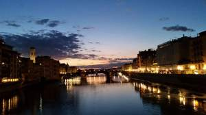 Florence at night. Arno River.