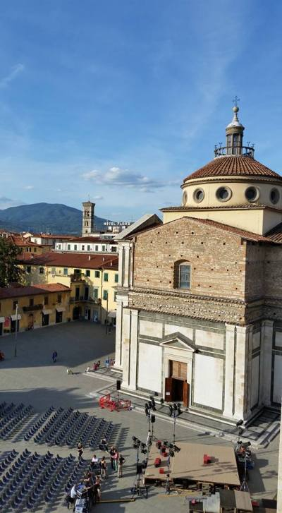 View from Castle (Church of Maria della Carceri). Prato, Italy.