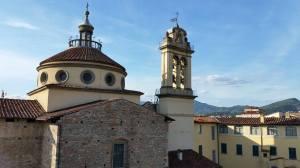 View from Castle (Church of Maria della Carceri). Prato, Italy.