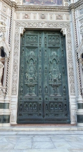 Main doors of the Duomo (cathedral). Florence, Italy.