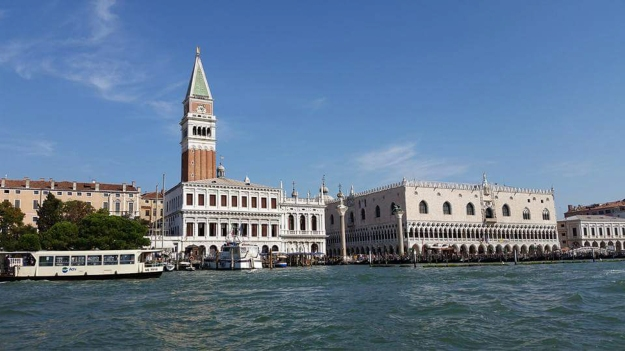 View of Venice from the canal.