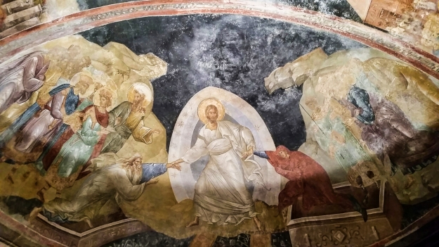 Fresco depicting the harrowing of hell. From the Chora Church in Istanbul.