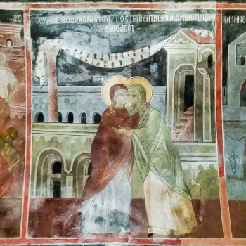 The Visitation. Fresco from Plovdiv, Bulgaria.