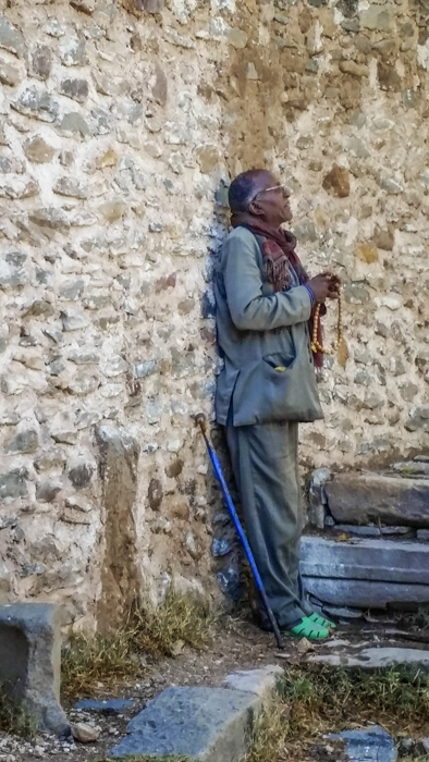 In Aksum, Ethiopia, a man caught up in prayer.