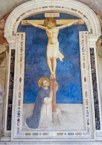 Fresco of Saint Dominic adoring the Crucifixion