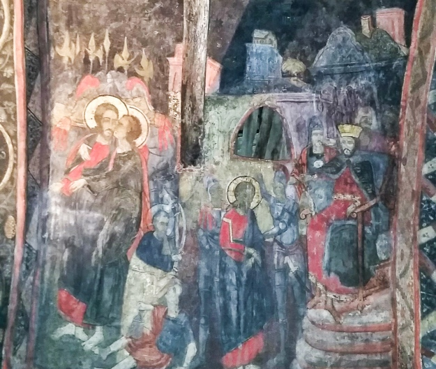 The Betrayal of Jesus. From a fresco in Bulgaria.