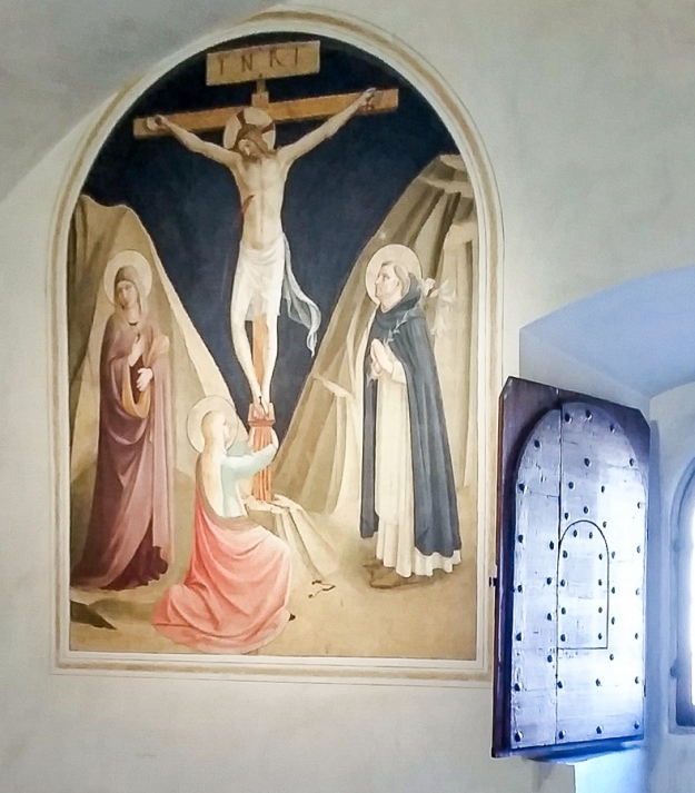 The fresco by Fra Angelico is one of those painted on the walls of the monastery cells in San Marco in Florence.