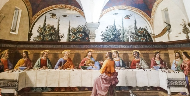 The Last Supper. Fresco by Ghirlandaio, in San Marco, in Venice.