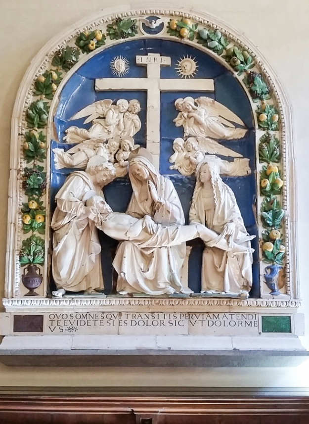 John, Mary, and Mary Magdalene taking Christ down from the Cross. A della Robbia in Florence.