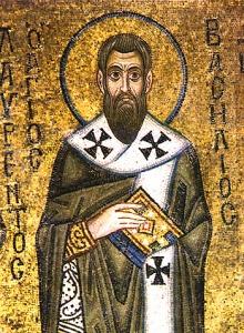 St. Basil the Great. Public domain image from Hagia Sophia Kiev, 11th century.